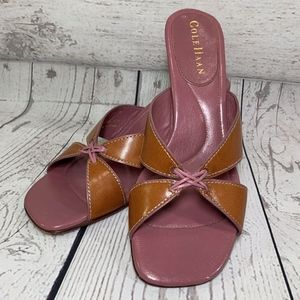 Cole Haan D14078 Leather Wrapped Heeled Sandals